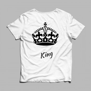 Mock Up King White Tshirt Black LEtters