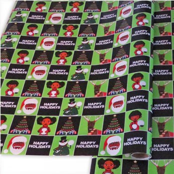 Single Roll – Green And Black Melanin Moments Holiday Design With English Text