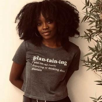 BlackOwnedBusiness Everyday Froday Crop Tee Plantaining